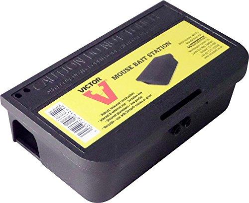 Victor Trampa portacebo con llave para deshacerse de ratones-Caja de plástico de utilisación segura para almacenar veneno contra roedores-Facil y reusable #M917U, negro