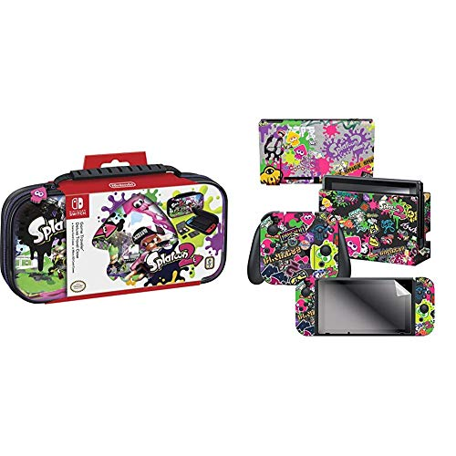 "Officially Licensed Nintendo Switch Splatoon Carrying Case – Protective Deluxe Travel Case & Controller Gear Nintendo Switch Skin & Screen Protector, Officially Licensed-Splatoon 2 ""Stick Em' Up"