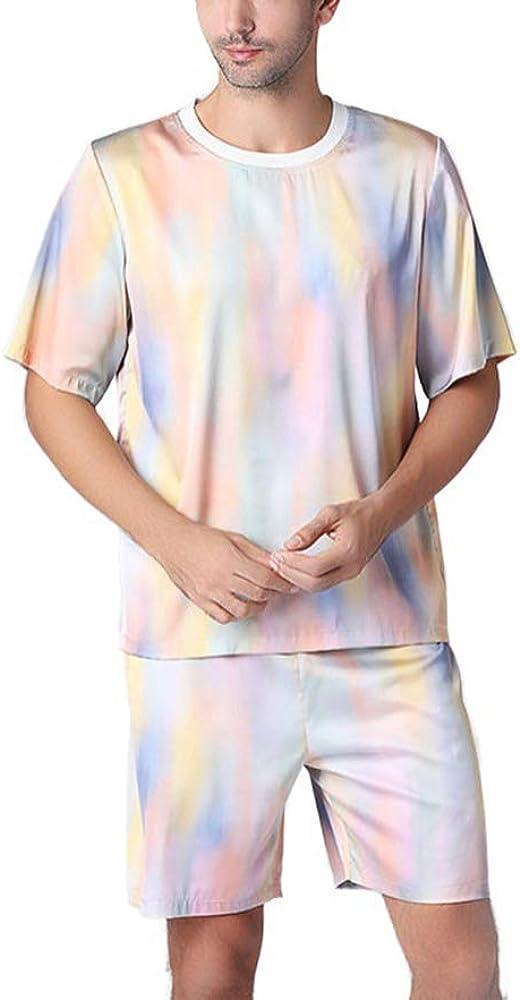 nuoshang Men's Silk Printed Short Sleeve Sleepwear Pajamas Shorts Set Loungewear