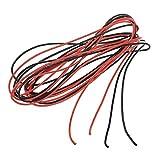 2x 3M 24 calibre AWG de caucho de silicona cable de alambre Rojo Negro Flexible R SODIAL Varios .