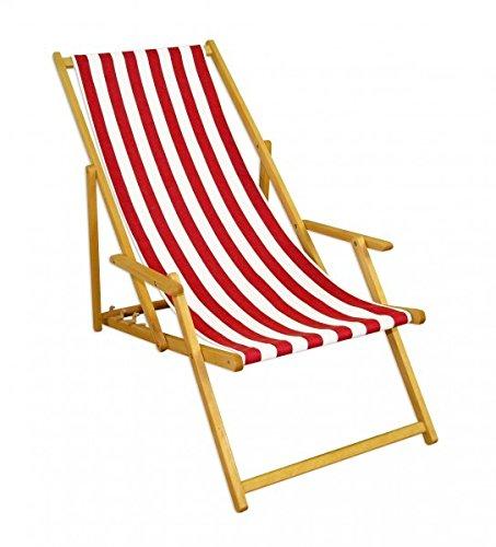 Erst-Holz Liegestuhl rot-weiß Gartenliege Sonnenliege Strandstuhl Klappstuhl Deckchair Buche Natur 10-314N