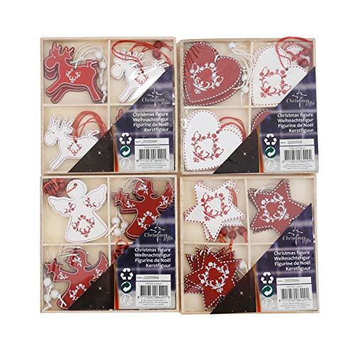 designfun Juego de 48 piezas de madera para árbol de Navidad, diseño de estrellas, ángel, renos y corazones