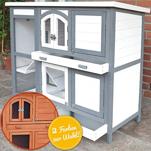 zooprinz Hasenstall Krümmel 2020 - ideal für draußen, auch im Winter für Deine Lieblinge perfekt - Besonders einfach und schnell zu reinigen - Kleintierstall mit umweltfreundlicher Farbe weiß