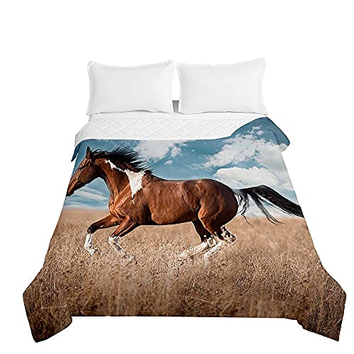 Chickwin Tagesdecken Bettüberwurf, 3D Pferd Drucken Sommer Tagesdecke mit Prägemuster Wohndecke aus Mikrofaser Bettdecke für Einzelbett Doppelbett oder Kinder (Blauer Himmel,150x200cm)