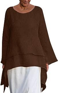 LEKODE Women T-Shirt Casual Asymmetrical Long Sleeve O-Neck Tops