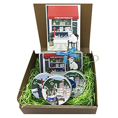 Andayクッキー クッキー缶セット 赤テント 4個入 角缶×1 丸缶×3 ポストカード 兵庫