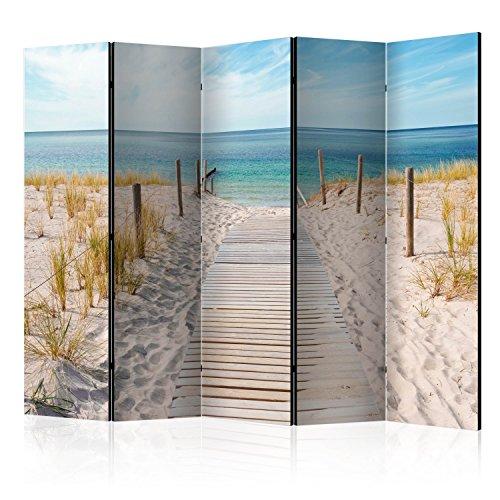 murando Raumteiler Foto Paravent Strand am Meer 225x172 cm beidseitig auf Vlies-Leinwand Bedruckt Trennwand Spanische Wand Sichtschutz Raumtrenner Natur Landschaft c-B-0362-z-c