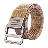 MESHIKAIER Unisex Nylon Cinturón Mujer Hombre Ajustable Militar Táctico Cinturón Deport Cinturón Casual Cinturón + Metal Hebilla (Caqui)