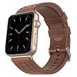 CHENPENG Bandes de Sport compatibles avec Apple Watch 38MM 42MM série 5/4/3/2/1 Bracelet de Remplacement en Silicone Souple, pour Femmes Hommes,Marron,38mm