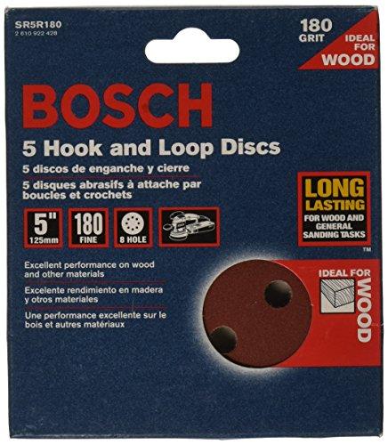 BOSCH SR5R180 5-Piece 180 Grit 5 In. 8 Hole Hook-And-Loop Sanding...