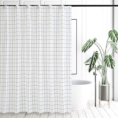 """Shower Curtain Liner with Modern White & Black Square Design Home & Bath Waterproof PEVA Polyester Fabric Bathroom Shower Curtains Odorless, 72""""x72"""""""