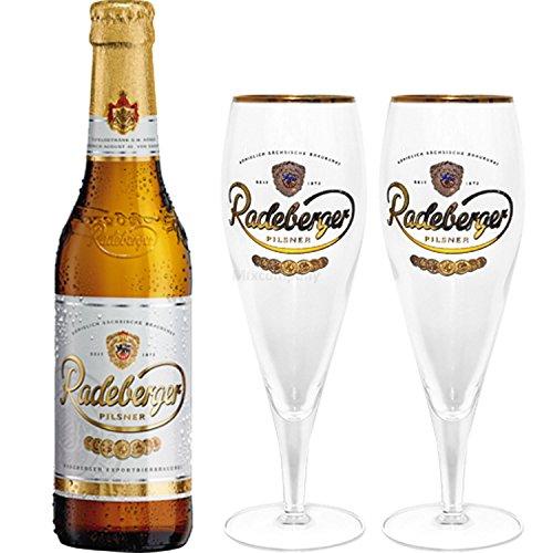 Radeberger Premium Pils Bier 0,33l (4,8% Vol) + 2x Gläser Pokalgläser -[Enthält Sulfite] - Inkl. Pfand MEHRWEG