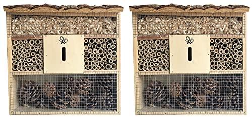 Novaliv 2X Insektenhotel rechteckig I Insektenhaus Nisthilfe I Bienenhotel witterungsbeständig Hummelhotel