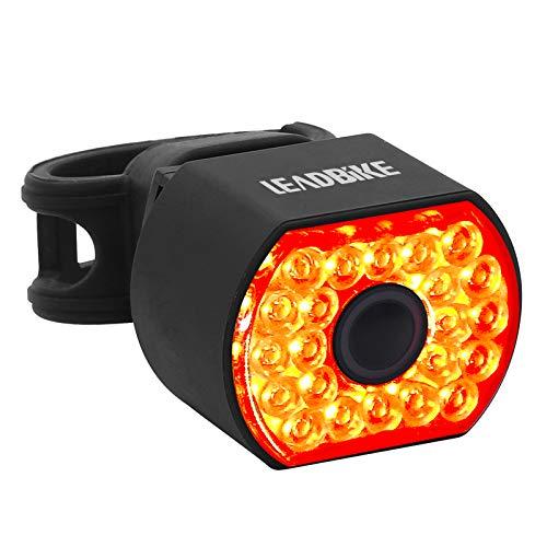 Leadbike Smart Tail Light Detección de freno USB recargable LED Luz trasera de bicicleta Detección automática Impermeable Luces de bicicleta de seguridad
