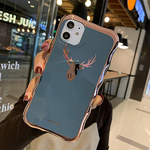 Electroplate Case para iPhone XS Anti Falling Soft Shell para iPhone SE2 6 7 8 Plus X XR XS MAX 11 Pro MAX Luxury Fashion Cover, Deer Navy, para iPhone 6S