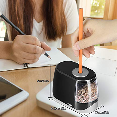 OMZER Electric Pencil Sharpener Heavy Duty - Quick Sharpening and Auto-Stop Operated Safe Design For Kids Adults - Pencil Sharpeners for Colored Pencils with Battery USB Powered for Home Class Office Photo #3