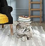 Safavieh Elephant Ceramic Decorative Garden Stool, Silver