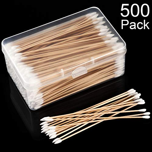 Norme 500 Pieces Cotton Cleaning Swabs, Pointed/Round Tip with Wooden Handle Cleaning Swabs Cotton Buds for Jewelry Ceramics Electronics in Storage Case (6 Inch, Pointed and Round Tip)
