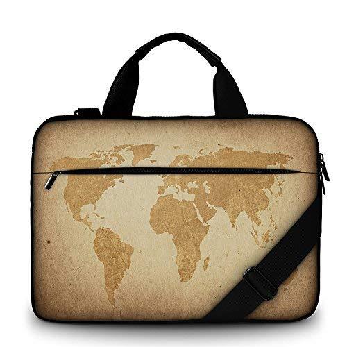 Moderne notebooktas van canvas, stevige laptoptas met handvat, riem met ritssluiting, waterafstotende laptoptas met accessoires, multicolor van Funky Planet Bags Cases 47 x 34 x 3, 44 x 31 x 2 bruin map