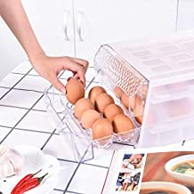 Egg Holder Drawer Tray Clear, Fridge Storage Space Saver, Kitchen Organizer Stackable Food Storage, Egg Container for Refr...