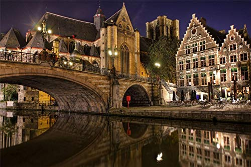 Puzzles De 1000 Piezas Para Adultos Bélgica Gent Night Bridge Town Montaje De Madera Decoración Para El Hogar Juego De Juguetes Juguete Educativo Para Niños Y Adultos Regalos