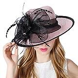 Koola's hats Lady Pink 3 Capas Sinamay Sombreros de Boda Som