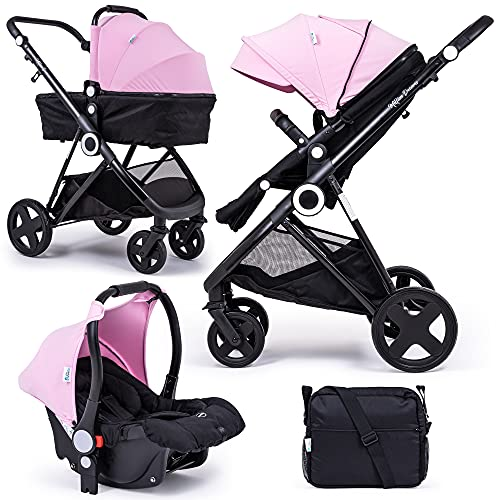 For Your Little One Million Dreams 3 in 1 Travel System - Pink inc Pushchair, Newborn Car Seat, Separate Carrycot, Changing Bag with Mat, Raincover and Apron