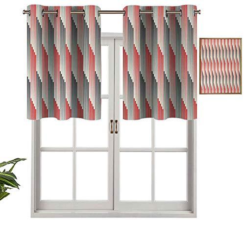 Hiiiman Cortinas cortas, con ojales, estilo retro, bicolor, composición con rayas verticales estilizadas, futurista, juego de 1, 91,4 x 45,7 cm para baño y cocina