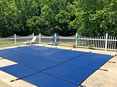 WaterWarden Inground Pool Safety Cover, Fits 18' x 36', Blue Mesh, Right Step – Easy Installation, Triple Stitched for Max Strength, Includes All Needed Hardware, SCMB1836RS