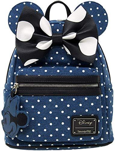 Loungefly x Minnie Mouse Mini-Rucksack, Denim, gepunktet, blau (Blau) - wdbk0848