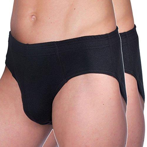HERMKO 68300 2er Pack Herren Funktions Slip ohne Eingriff mit Dehnbund, atmungsaktiv und schnelltrocknend, Farbe:schwarz, Größe:D 6 = EU L