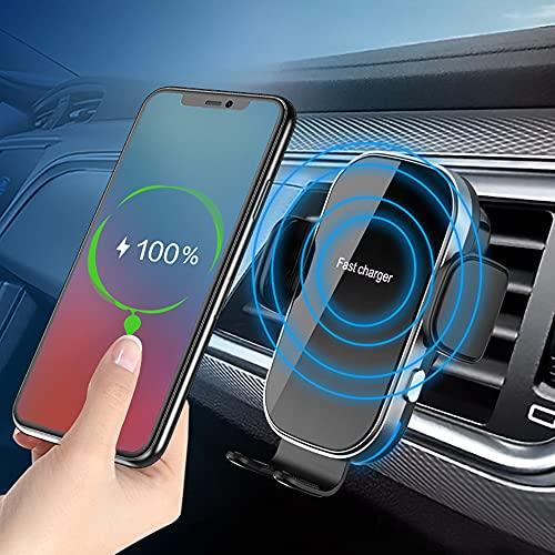 Cargador rápido inalámbrico para coche, 15 W, inducción, cargador Qi, soporte de teléfono para coche, estación de carga inductiva, carga rápida para iPhone, Samsung, Huawei, etc.