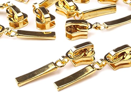 5 Metall-Zipper m. Autolock f. Kunststoff-Reißverschlüssse 5mm, 04 gold
