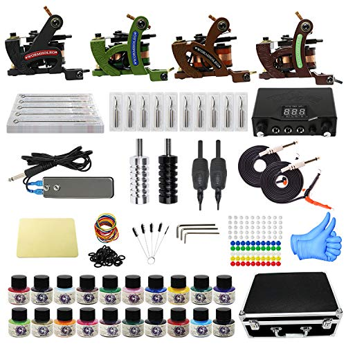 Tattoo Kit with Case Complete Tattoo Gun Kit 4pcs Starter Tattoo Machine Kit Tattoo Kit 20 Colors Tattoo Inks for Beginners CD013