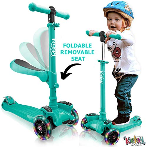 Kicsky Wheels Scooters for Kids with Seat Folding and Removable - 3 Wheel Toddler Scooter for Boys & Girls - Toddlers and Kids Toys for 2 Year Old and Up - Three Heights & Light Up Wheels (Blue)