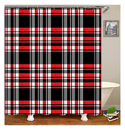 XIAOXINYUAN Digitaldruck Klassische Schwarze & Rote Quadrate Duschvorhang des Polyester Wasserdichten Mehltau Passend Für Hauptbadezimmerdekoration 90×180Cm