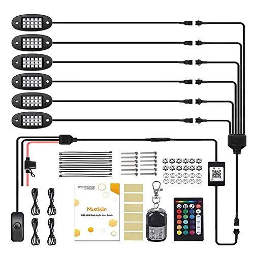 Pvnoocy Auto Unterbodenbeleuchtung, 6 Stücke RGB 18xLED Rock Lights Kit, kfz Atmosphäre Leichter LED mit Infrarot-Fernbedienung oder Mobile App Kontrolle, Musikmodus, Bremsmodus, IP68 wasserdicht
