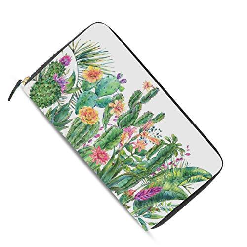 Ahomy Damen Geldbörse mit Reißverschluss, Aquarell, Tropische Blüte, Kaktus, PU-Leder