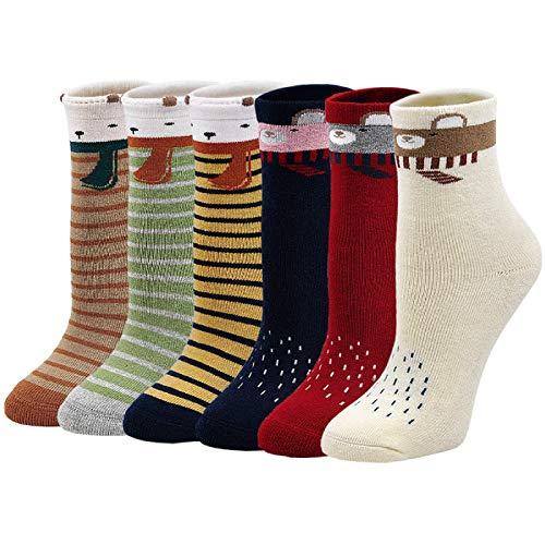LOFIR Calcetines Térmicos de Algodón para Niñas Invierno Calcetines Gruesos y Cálidos, Calcetines Colores Casuales Novedad para Niñas/Niños de 5 a 7 años, Talla 24-29, 6 pares
