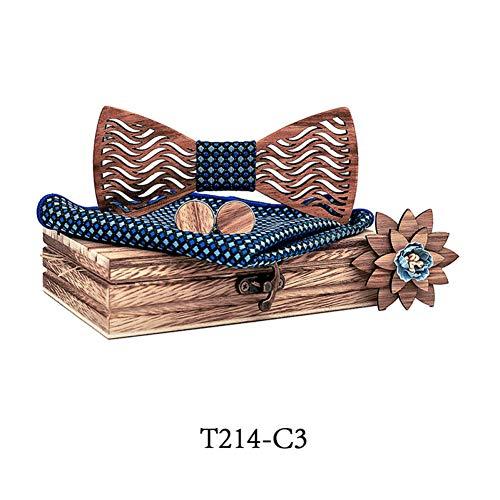DYDONGWL Halsbanden, Heren Houten strik Set Mannen Zakdoek houten Bowtie Manchetknopen Zakdoek Necktie Zijde Ties Bruiloft Party Hombre met geschenkdoos