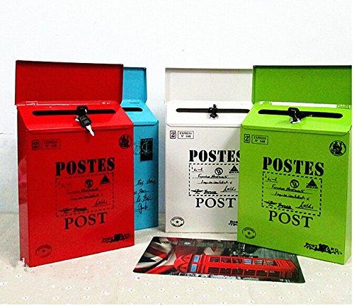 Briefkasten im Landhaus-Stil, klein, Mitteilungsbox aus Eisenblech, Wahlurne, ohne Schloss, Stil: Vintage, rot