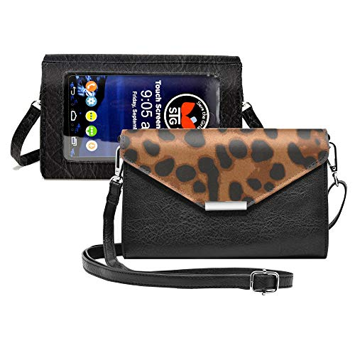 Touch Screen Purse Luxe Backed by Lori Greiner Fits Most Smartphones – Stylish Crossbody with Shoulder Strap - RFID Keeps Cash, Cards & Phone Screens Safe/Protected- Leopard