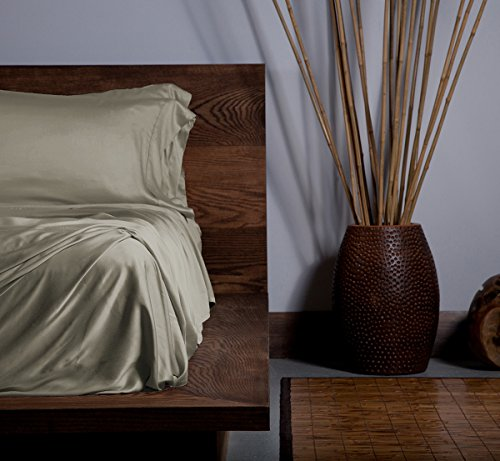 SHEEX Ecosheex Bamboo Origin Sheet Set with 2 Pillowcases, Luxury Sateen, Taupe, California King