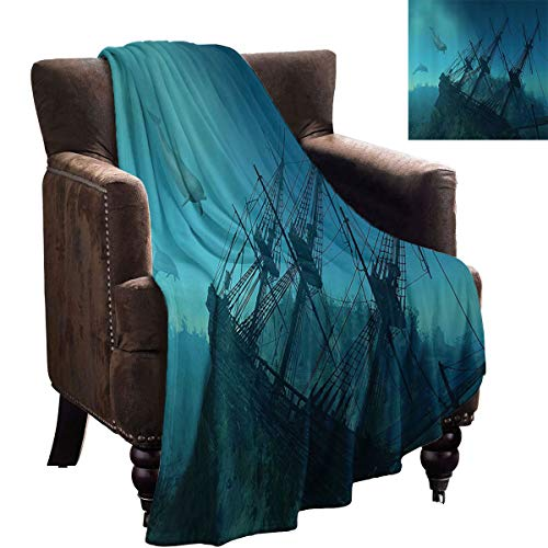 LanQiao - Manta decorativa náutica para sofá, diseño de delfines que se acercan a la ruinada destrucción submarina de barco hundido misterio tesoro, cálida manta para sofá de 228 x 177 cm, color verde azulado