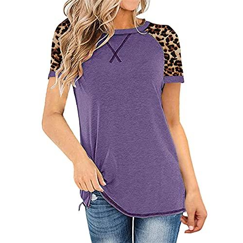 Tops con Estampado de Leopardo para Mujer Camiseta de Manga Corta con Cuello Redondo Camisa Casual básica Blusa Tops Corta Tops con para Mujer Camiseta con Cuello Redondo Camisa Casual de Manga Corta