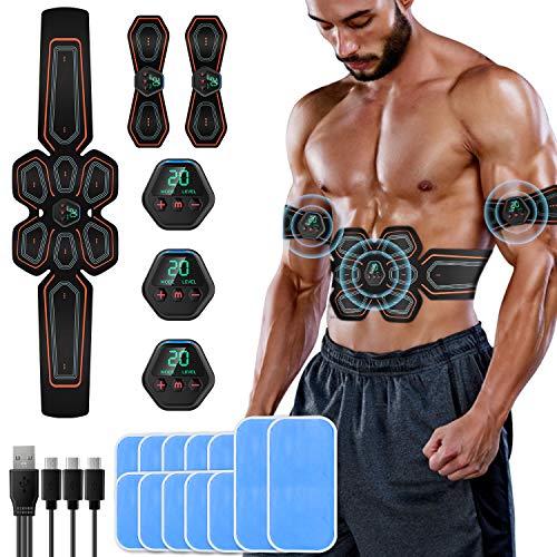 SUNGYIN EMS Bauchmuskeltrainer Muskelstimulator bauchtrainer ABS Trainingsgerät Professionelle USB Elektrostimulation Fitnessgürtel für Muskelaufbau und Fettverbrennung (8 Pads)