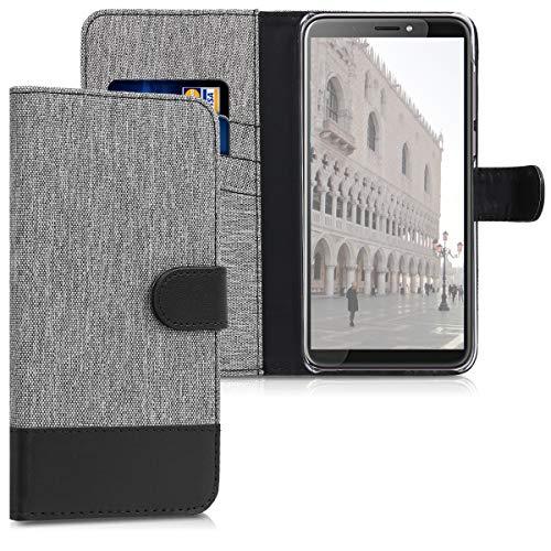 kwmobile Hülle kompatibel mit HTC Desire 12+ - Kunstleder Wallet Case mit Kartenfächern Stand in Grau Schwarz