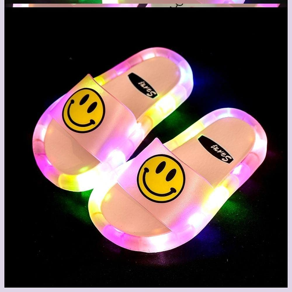 Kirin-1 Cleaning Slippers,Party Child Slippers Illumination Led Non-Slip-Pink_32/33 Shoe Length 18.5cm