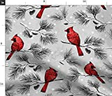 Spoonflower Fabric - Snow Cardinal Birds Woodland Forest Christmas Pine Trees Day Printed on Petal Signature Cotton Fabric by The Yard - Sewing Quilting Apparel Crafts Decor