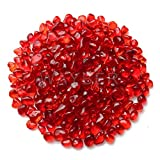 WAYBER Glass Stones, 1Lb/460g Irregular Sea Glass Pebbles Non-Toxic Artificial Crystal Stones for Vase Filler/Table Scatter/Aquarium Decoration/Handcraft Making/Jewelry Display, Red